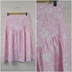 pink & white drop waist floral country skirt